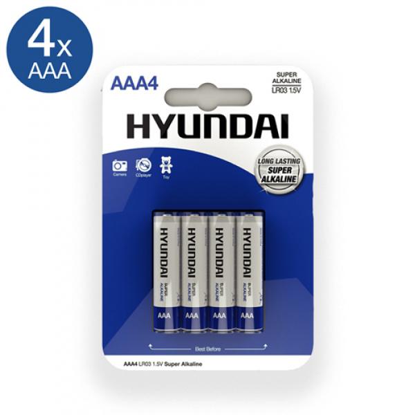 Super Alkaline AAA-Batterijen - 4 Stuks - Hyundai